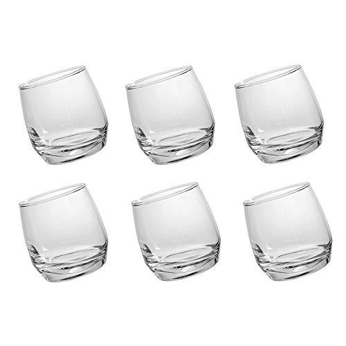 Lucenté 6PC Whiskey Cognac Spirits Rocking Unspillable Home Bar Glass - 360ml Capacity