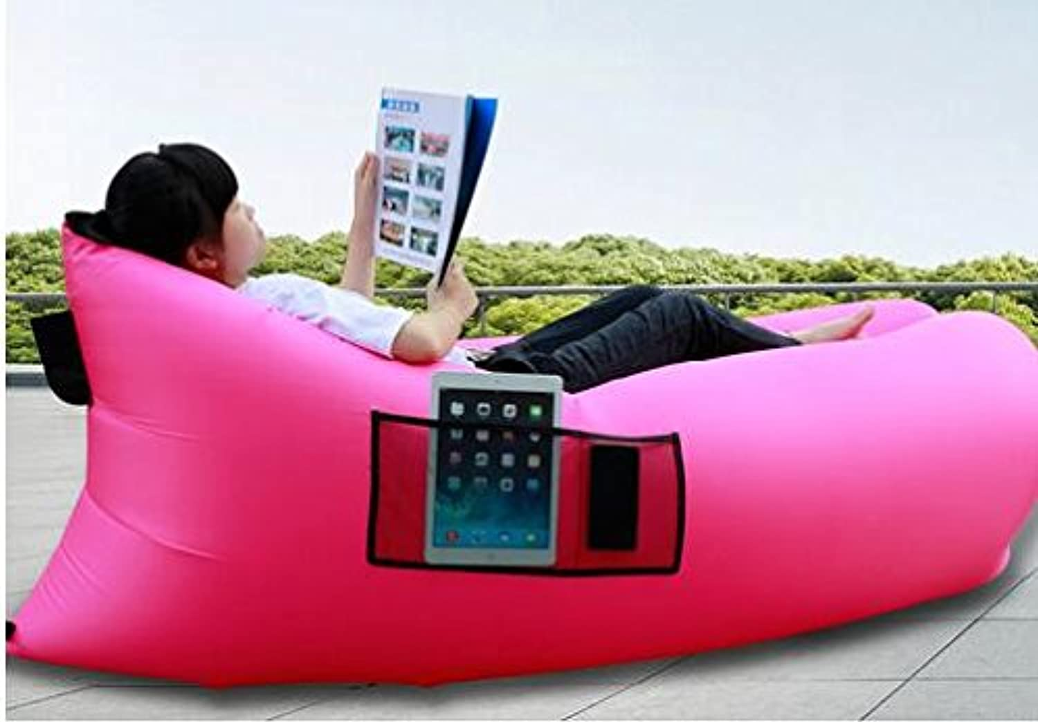 Hua Rui -Inflatable Lounger Air Filled Balloon Furniture, Hangout Bean Bag, Outdoor or Indoor Air Sleeping Sofa, Couch, Portable Waterproof Compression Sacks for Camping, Beach, Park, Backyard
