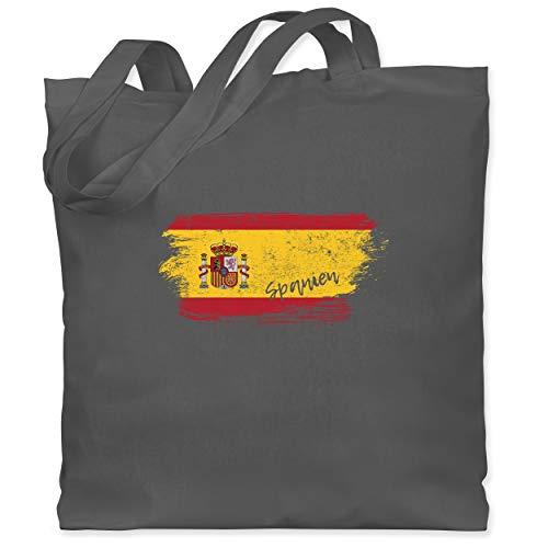 Shirtracer Handball WM 2021 - Spanien Vintage - Unisize - Dunkelgrau - Geschenk - WM101 - Stoffbeutel aus Baumwolle Jutebeutel lange Henkel