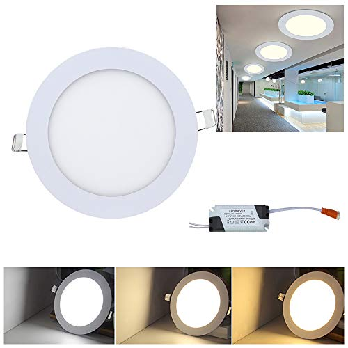 Hengda 10X Panel Downlight LED Redondo Plano 18W Blanco Driver incluido LED Empotrado Incluido Blanco cálido, Blanco neutro, Blanco frío 3200k-6500k [Clase de eficiencia energética A+]