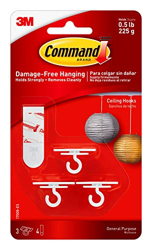 Command Ceiling Hooks (3 hooks, 4 foam strips per pack) 4 Packs Total, Decorate Damage-Free