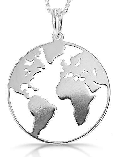 Tobonico - Colgante Mundo Plata, Colgante Planeta Tierra Mapamundi Fabricado en Plata de Ley 925 entregado en Caja Regalo de Madera