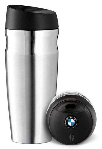 BMW Thermobecher aus gebürstetem Edelstahl.