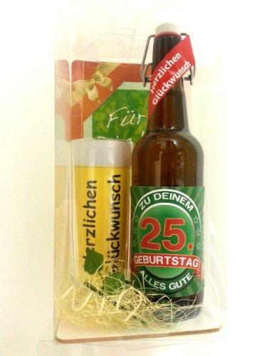 SünGross Geschenk Set, Bierset Bier Geschenk zum 25. Geburtstag das bei Frau und Mann Immer gut ankommt, Bierflasche mit Etikett, Glas Bierkrug und Geschenk Postkarte