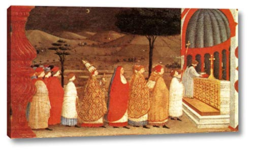 "Miracle of The Desecrated Host Scene 3 by Paolo Uccello - 11"" x 20"" Gallery Wrap Canvas Art Print - Ready to Hang"