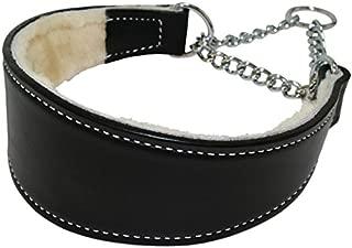 Sheepskin Lined Leather Martingale Dog Collar