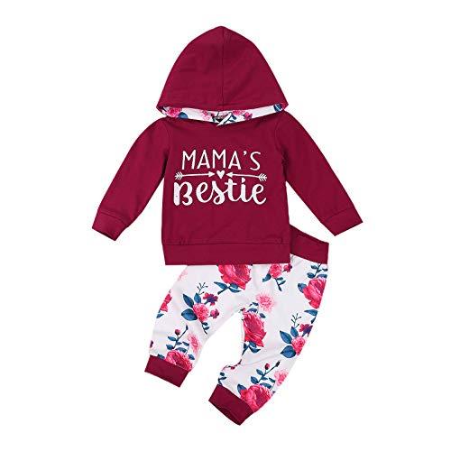 Recién nacido bebé niña sudaderas trajes 2 unids manga larga floral suéter tops pantalones largos primavera verano ropa conjuntos, C-rojo, 6-12 Meses