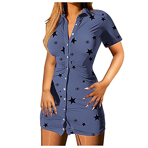 L9WEI Damska sukienka Slim Sexy krótka sukienka z guzikami, letnia sukienka w czasie wolnym, dziewczęca sukienka z rękawami Kuzrul, minisukienka uliczna niebieski niebieski m