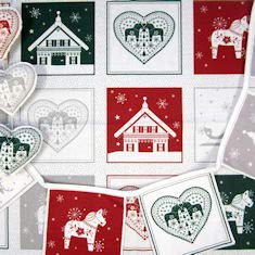 Nordic Hygge by Stoffa Fabrics 60 x110cm Panel with 18 x 15 cm Square Nordic Christmas Motifs Ready to Make up into Bunting,Cushions,placemats,Runners.