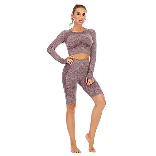 FYHCY Sexy Workout Outfit para mujer 2 piezas Leggings de yoga sin costuras Camiseta de manga corta Top y pantalones cortos Conjunto Casual Gym Workout Running Yoga Clothes A,S