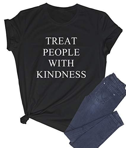 LOOKFACE Women Cute T Shirt Junior Tops Teen Girls Graphic Tees Black Small