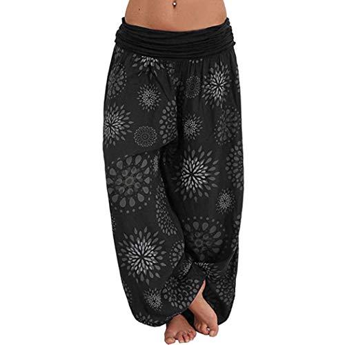 JLTPH Harem Pantalón Mujer Baggy Impresión Boho Pantalones de Yoga Aladin Bombacho Sueltos Harem Pantalones Talla Grande