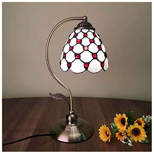 Vintage gestained glazen tafellamp - Pearl Mediterrane tafellamp 5 inch