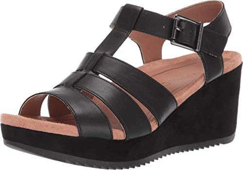 Vionic Women's Hoola Tawny T-strap Wedge - Ladies Platform Sandal with Concealed Orthotic Arch Support Black Leather 9.5 M US