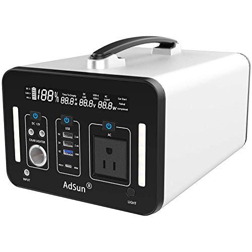 AdSun ポータブル電源 大容量 A1000 1000Wh/270000mAh 純正弦波 家庭用蓄電池 日本製仕1000W 瞬間最大2000W/DC/車の充電/USB/ 急速充電QC3.0 / Type-C PD 60W総出力1250W 充電しながら放電