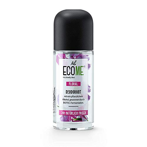 ECOME Deo Roll-On Floral 50ml 0% Sales de Aluminio Vegano para Pieles Sensibles