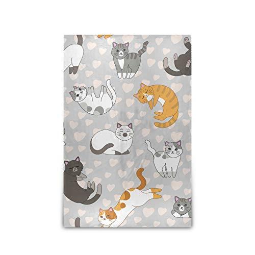 xigua Manta acogedora manta de microfelpa suave abrigo de cama perezosa chal de 60 pulgadas x 90 pulgadas para todas las estaciones, sofá, dormitorio, gatos y corazones