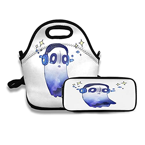 Undertale Napstablook Galaxy (Outertale) Lunch Bag and Pencil Case, Box Meal Pouch Pen Case Women Men Kids Adults Tote Insulated Backpack Strap Zipper Cute School Insulated 2 PCS