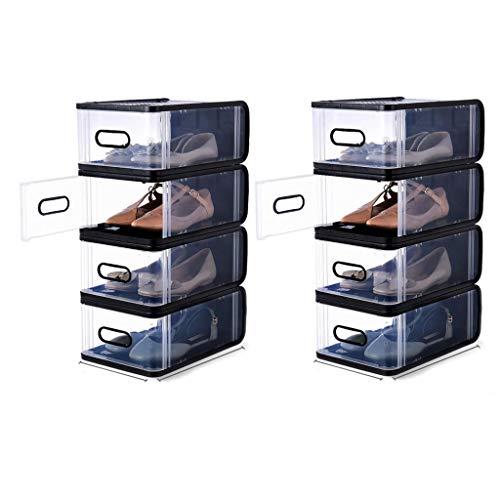 LDDLDG Zapateros Shoe Rack portátil Organizador 8 Par Torre Plataforma de Almacenamiento Ampliable for Soporte de gabinete Talones, Botas, Zapatillas (Color : Black)