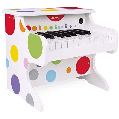 Janod- Coriandoli Pianoforte Elettronico in Legno per Bambini, Multicolore, J07618