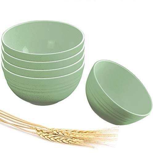 Juego de 5 cuencos de arroz para platos de paja de trigo, aislamiento térmico anticaída para niños adultos, caja de regalo portátil, juego de cuencos de comer doméstico, niños y adultos.
