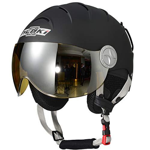 NENKI Helmets NK-2012 Ski Helmet with Visor (Matt Black,Yellow Visor, Small 21.7-22INCH)