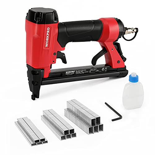"""WORKPRO Pneumatic 20 Gauge Staple Gun, T50 Upholstery Stapler with 1260pcs Staples 1/4""""to 5/8"""", Rear Exhaust, for Carpentry, Woodworking and DIY Projects"""