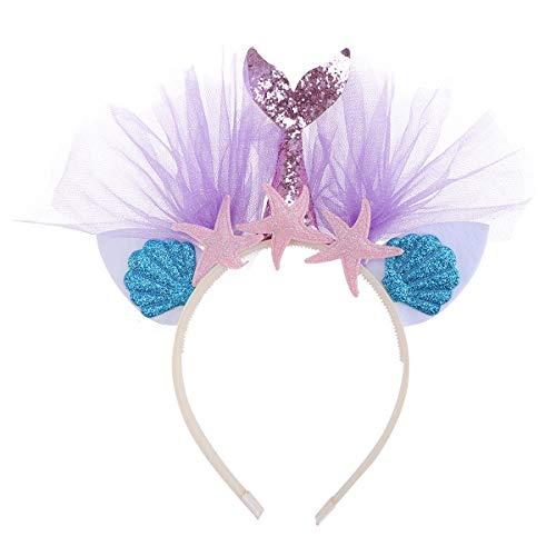 Beaupretty Diadema con diseño de Sirena Oreja arcoíris con Tul Colorido de niñas para Fiestas (rosa con estrella de mar)