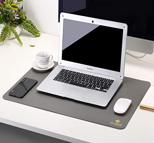 GUBEE PU Cuero Almohadilla de Escritorio de Oficina Multifuncional,Impermeable Antideslizante Anti-Sucio Alfombrilla de ratón para Oficina, hogar y Viajes (Gris/Negro)