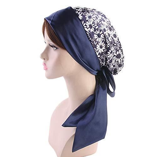 MoreChioce Damen Sommer Kopfbedeckung, Frauen Elegant Kopftücher Chemo Hut Indien Bandana Muslim Hijab Schals Baumwolle Haarverlust Turban,Daisy