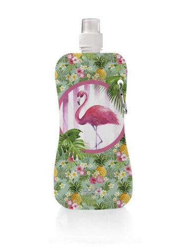 Gourde Aqua-Licious - Pliable - Avec mousqueton - Réutilisable - Avec de superbes motifs, Happy Flamenco