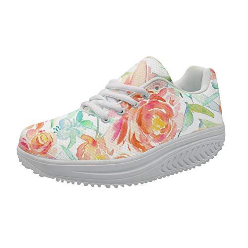 FOR U DESIGNS Leisure Slimming Rocking Shoe Floral Roes Ladies Cross Strap Breath Wedges Flats Sneakers US 10