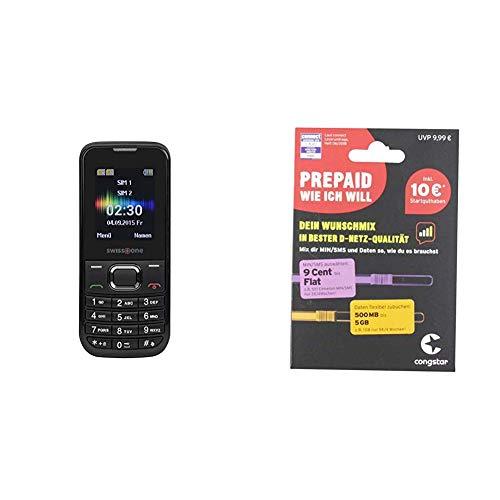 swisstone SC 230 - Dual SIM Handy schwarz & congstar Prepaid wie ich Will - Dein Wunschmix in Bester D-Netz-Qualität inkl. 10 EUR Startguthaben. Mix dir Allnet-Minuten, SMS und MB.
