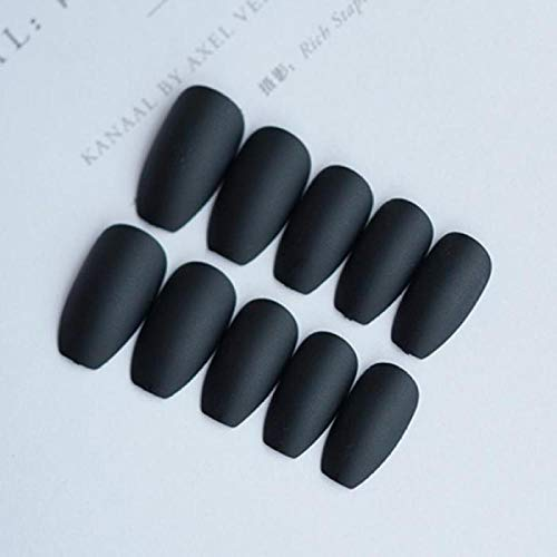 CSCH Faux ongles 24pcs Black Full New Matte cover Fake Nail Art Stickers With Glue Women Fashion Simple Moyen Longueur Artificielle Faux Ongles Conseils