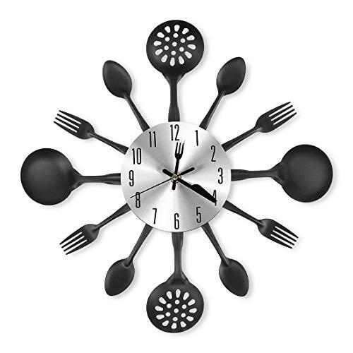 MAJOZ Orologio da parete 3D in metallo con meccanismo silenzioso, design posate, orologio da cucina, orologio da parete, orologio decorativo, 41,5 x 41,5 cm, Metallo, Nero , 41,5 x 41,5 cm