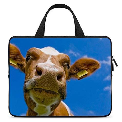 Neoprene Sleeve Laptop Handle Bag, Brown Cow with Sky, Portable MacBook Laptop/Ultrabooks Case Bag Cover Handbag Notebook Case 15 Inch