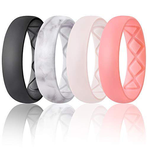 Egnaro Inner Arc Ergonomic Breathable Design, Silicone Rings for Women with Half Sizes, Women's Silicone Wedding Band, 6mm Wide - 2mm Thick