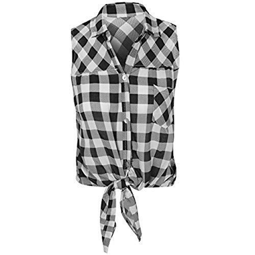 Damen Kariertes Hemd Lumberjack ärmellos Knot Tie bauchfreies Top bluse-größe - Schwarz / Weiß, Medium - EU 38