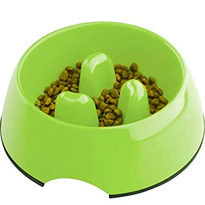 Super Design Anti-Gulping Dog Bowl Slow Feeder, Interactive Bloat Stop Pet Bowl for Fast Eaters 2.5 Cup Green