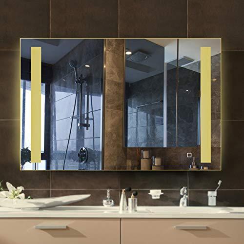 ZZJZZY - Espejo de baño iluminado LED inteligente antivaho, pantalla táctil, apto para maquillaje de baño de 60 x 80 cm