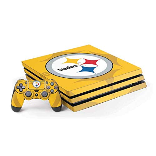 Skinit Decal Gaming Skin for PS4 Pro Console and Controller Bundle - Officially Licensed NFL Pittsburgh Steelers Double Vision Design