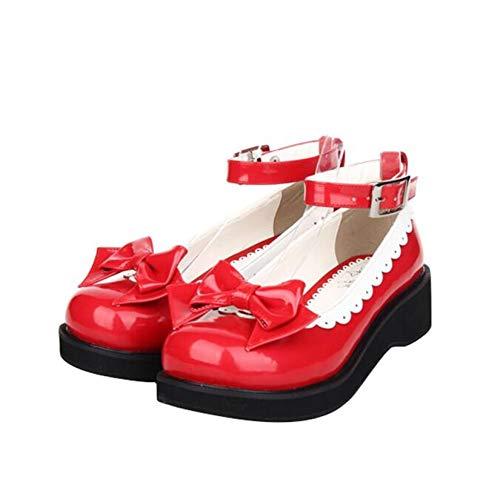 LANKOULI Mädchen Lolita Cosplay Schuhe Dame Mid Heels Pumps Frauen Prinzessin Student Kleid Party Schuhe 4cm 33-47