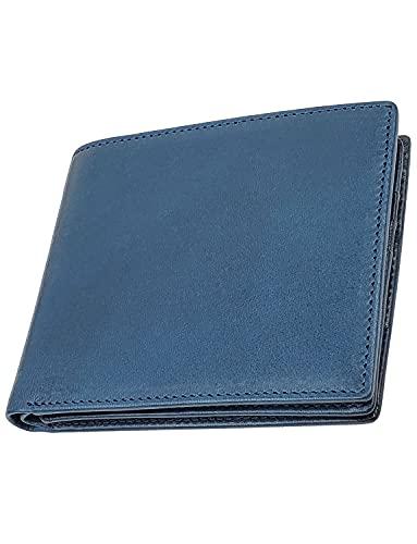 ファブリツィオ 財布 メンズ 二つ折り 人気 薄い 小銭入れ 本革 イタリアンレザー 大容量(ブルー)