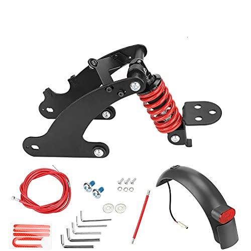 Fututech - Kit de suspensión trasera para scooter eléctrico para Xiaomi M365 1S Essential Lite Amortiguador Guardabarros Luz Trasera Accesorios Patinete Modificación (Rojo para M365 1S EL)