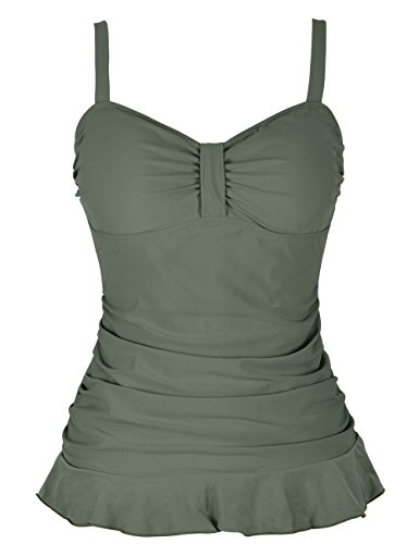 Hilor Women's 50's Retro Ruched Tankini Swimsuit Top with Ruffle Hem Army Green 10