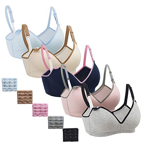 Nursing Bra,Womens Maternity Breastfeeding Bra Wireless Sleeping Bralette Extenders,Navy Gray Nude LightBlue Gray-Pinkband,XL Size