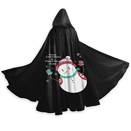 Hombres Mujeres Capa con Capucha Negra con Mangas Capa Larga para Navidad Disfraces de Halloween Cosplay Feliz Navidad Mueco de Nieve
