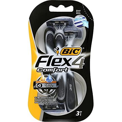 Bic Flex 4 Comfort par 3 Rasoirs Jetables pour Homme Rasage Ultra Doux (lot de 3 soit 9 rasoirs)