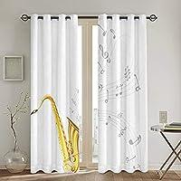 遮光遮熱カーテン,サックスソロパーティービートファンデザインの波状音楽チューンのイラスト 寝室 カーテンセット カーテン おしゃれ 断熱 防音 カーテン のある生地 リビングルーム,2枚組 130 x 210CM