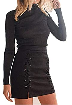 katiewens Women s Classic High Waist Lace Up Bodycon Faux Suede A Line Mini Pencil Skirt Black